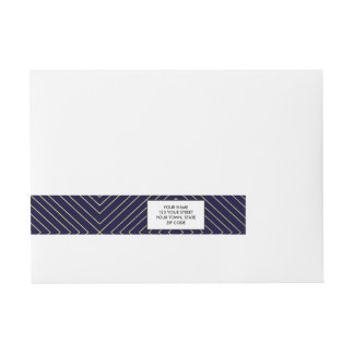 Modern Geometric Gold Squares Pattern on Navy Blue Wrap Around Address Label