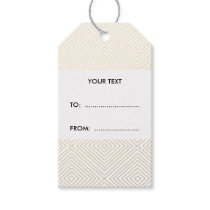 Modern Geometric Gold Squares Pattern on White Col Gift Tags