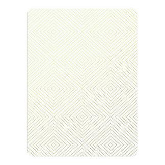 Modern Geometric Gold Squares Pattern on White Col Invitation