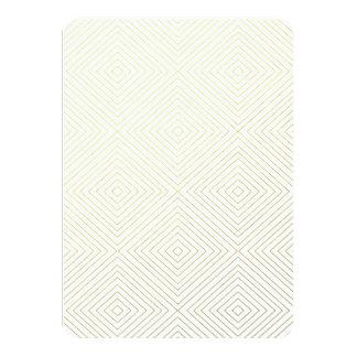 "Modern Geometric Gold Squares Pattern on White Col 4.5"" X 6.25"" Invitation Card"