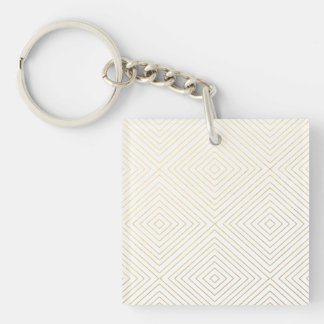 Modern Geometric Gold Squares Pattern on White Col Keychain