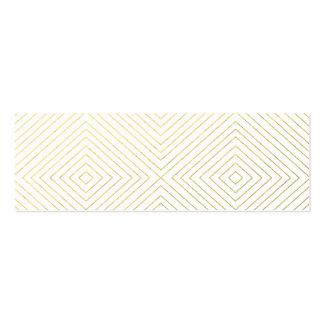 Modern Geometric Gold Squares Pattern on White Col Mini Business Card