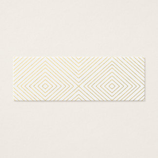 Modern Geometric Gold Squares Pattern on White Col Mini Business Card