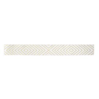 Modern Geometric Gold Squares Pattern on White Col Satin Ribbon