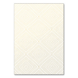 Modern Geometric Gold Squares Pattern on White Col Table Cards