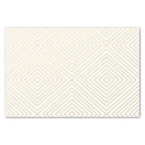 Modern Geometric Gold Squares Pattern on White Col Tissue Paper