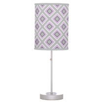 Modern Geometric Gray Lavender Purple Pattern Table Lamp