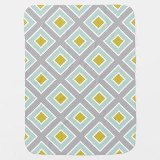 Modern Geometric Gray Mint Blue Green Pattern Receiving Blanket