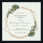 """Modern Geometric Greenery Engagement Party Invitation<br><div class=""""desc"""">Modern boho engagement party invitations with your event details inside of a gold geometric frame surrounded by greenery and white flowers.  A botanical design that is perfect for a bohemian celebration in the summer.  Frame courtesy of: Designed by Freepik</div>"""