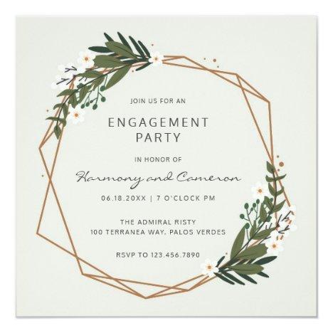 Modern Geometric Greenery Engagement Party Invitation