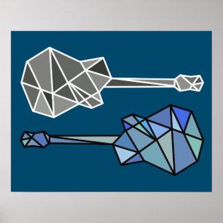 modern geometric guitars music on blue poster