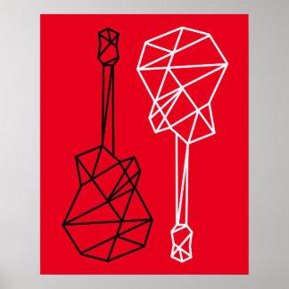 modern geometric guitars music on red poster