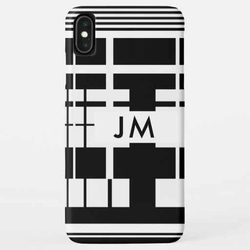 Modern Geometric Line Black and White iPhone XS Max Case