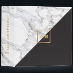 """Modern Geometric Marble/Black Monogram Logo Binder<br><div class=""""desc"""">Coordinates with the Modern Geometric Marble/Black Monogram Logo Business Card Template by 1201AM. A faux gold box featuring your initials adds a modern design element on this geometric binder design. Created with contrasting white marble and black for a chic motif. Perfect for creative professionals looking for a little bit of...</div>"""