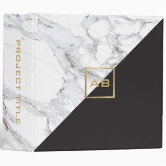 Modern Geometric Marble/Black Monogram Logo Binder