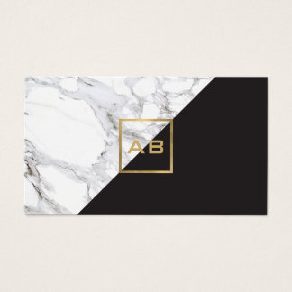 Modern Geometric Marble/Black Monogram Logo Business Card