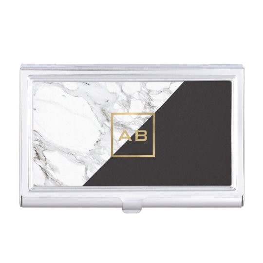 Modern Geometric Marbleblack Monogram Logo Business Card Holder