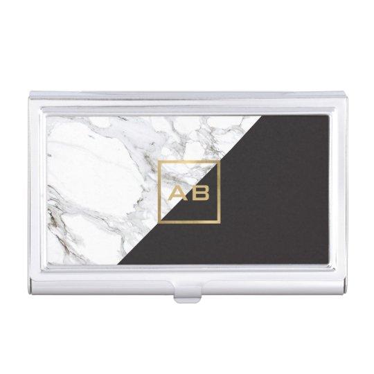 Modern geometric marbleblack monogram logo business card holder modern geometric marbleblack monogram logo business card holder reheart Choice Image