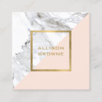 Modern Geometric Marble/Pink and Faux Gold Square Business Card