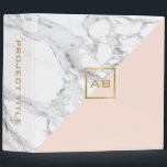 """Modern Geometric Marble/Pink Monogram Logo Binder<br><div class=""""desc"""">Coordinates with the Modern Geometric Marble/Pink Monogram Logo Business Card Template by 1201AM. A faux gold box featuring your initials adds a modern design element on this geometric binder design. Created with contrasting white marble and soft pink for a chic motif. Perfect for creative professionals looking for a little bit...</div>"""