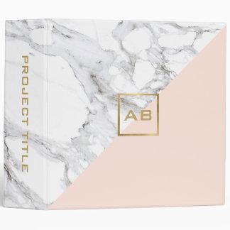 Modern Geometric Marble/Pink Monogram Logo Binder