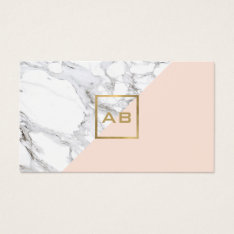 Modern Geometric Marble/pink Monogram Logo Business Card at Zazzle