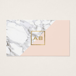 Modern Geometric Marble/Pink Monogram Logo Business Card