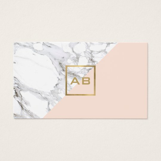 Modern Geometric Marble Pink Monogram Logo Business Card