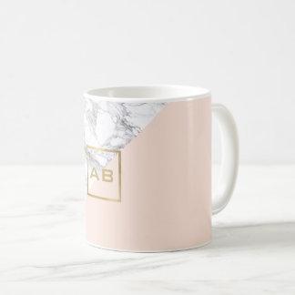 Modern Geometric Marble/Pink Monogram Logo Coffee Mug