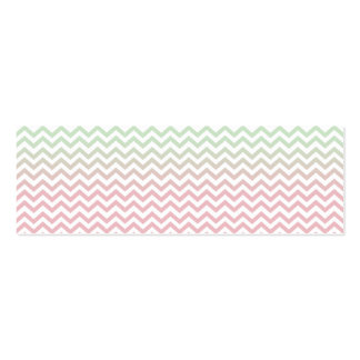 Modern Geometric Mint Green Pink Ombre Chevron Double-Sided Mini Business Cards (Pack Of 20)
