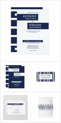 Modern Geometric Navy Blue and White Wedding Suite