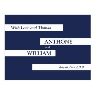 Modern Geometric Navy Blue White Wedding Thank You Postcard