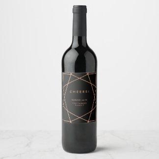 Modern Geometric on Black Wine Label