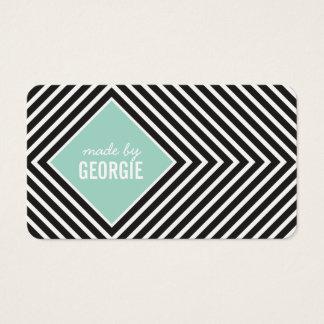 MODERN GEOMETRIC PATTERN diamond black white mint Business Card