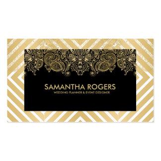 Modern Geometric Pattern & Lace Black & Gold Business Card
