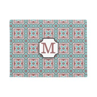 Modern Geometric Pattern Marsala Aqua Monogrammed Doormat