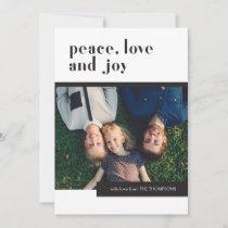 Modern Geometric Peace Love Joy Family Photo Holiday Card