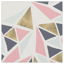 Modern geometric pink navy blue gold triangles fabric