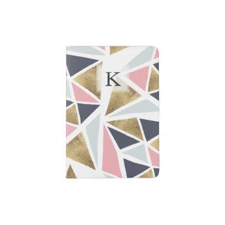 Modern geometric pink navy blue gold triangles passport holder