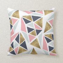 Modern geometric pink navy blue gold triangles throw pillow