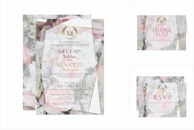 Modern Geometric Pink Roses Wedding