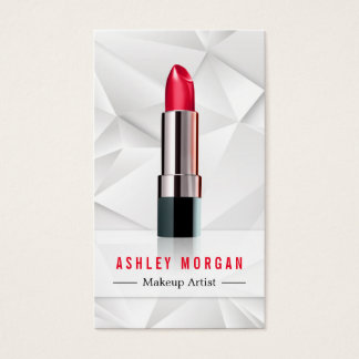 Modern Geometric Polygon Makeup Artist Lipstick Business Card