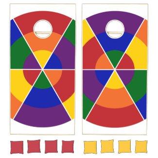 Modern Geometric Rainbow Circle Pattern Cornhole Set