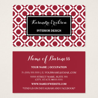 Modern Geometric Red and Black Interior Design Business Card