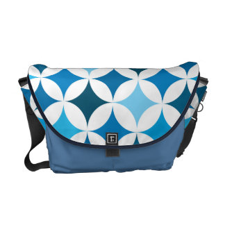 Modern Geometric Retro Be Blue Messenger Bag