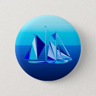 Modern Geometric Sailboat / Yacht, Cobalt Blue Pinback Button