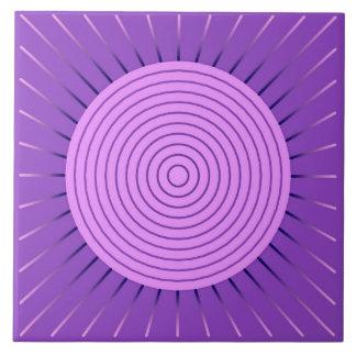 Modern Geometric Sunburst - Amethyst Purple Ceramic Tile