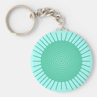Modern Geometric Sunburst - Aqua and Seafoam Green Basic Round Button Keychain