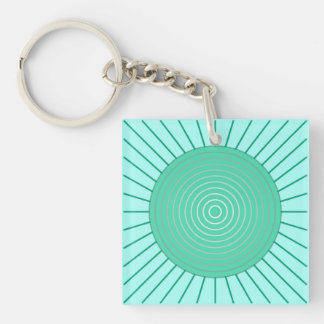 Modern Geometric Sunburst - Aqua and Seafoam Green Keychain