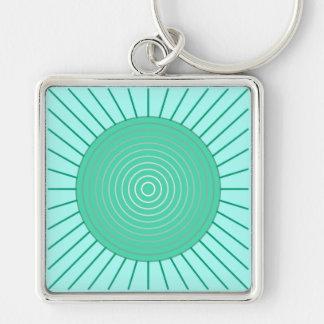 Modern Geometric Sunburst - Aqua and Seafoam Green Silver-Colored Square Keychain